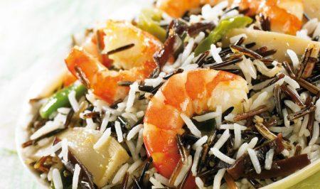 arroz con colas de langostino