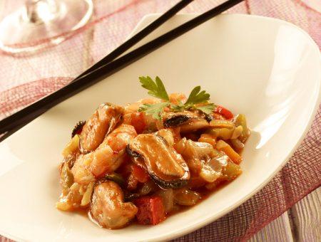 mejillones con verduras y langostinos ne formato wok